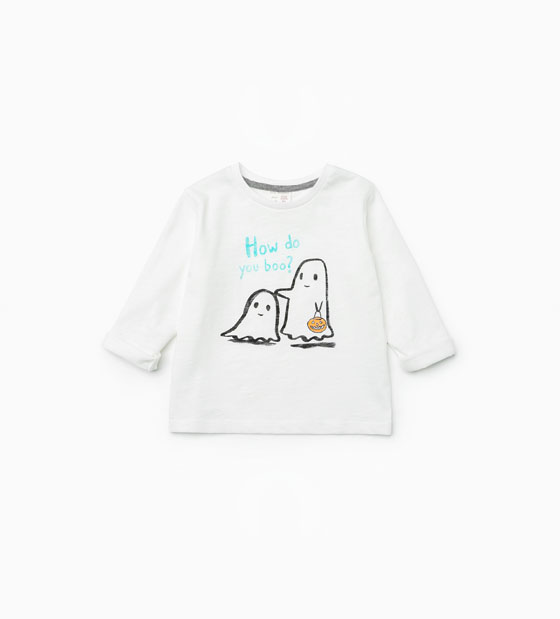 Oui Oui-disfraz halloween bebes-camiseta fantasma blanca-zara