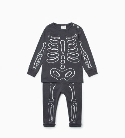 Oui Oui-disfraz halloween bebes-pijama esqueleto-zara