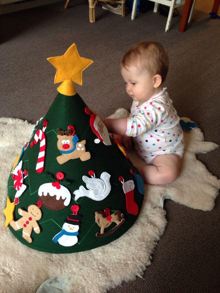 Oui Oui-arbol de navidad de fieltro para bebes-adornos con botones
