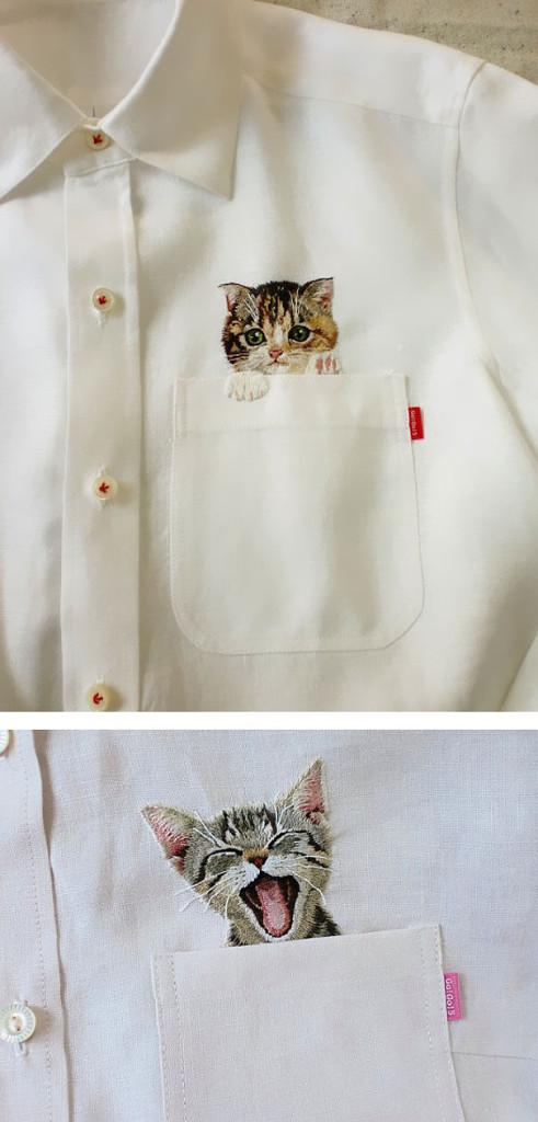 Oui Oui-regalos-para-amantes-de-gatos-camisa bolsillo gatito