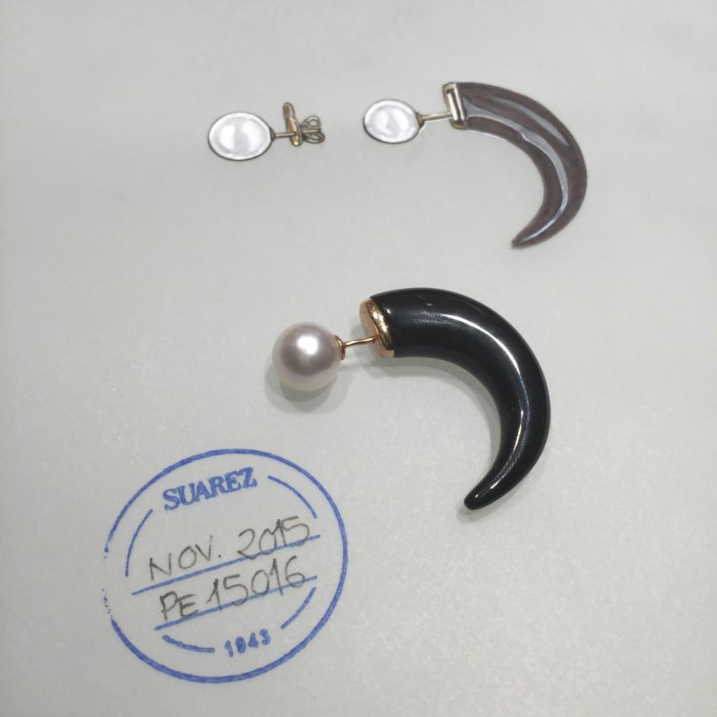 Oui Oui-boceto pendientes cuerno con perla-eclipse-joyeria suarez