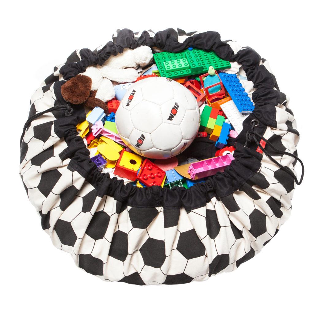 Oui Oui-alfombra recoge juguetes-bolsa recoge juguetes-pelota futbol