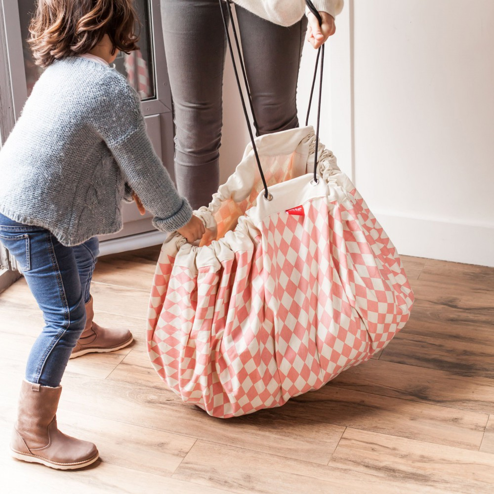 Oui Oui-bolsa-alfombra-de-juego-rombos-rosa-saco recoger juguetes