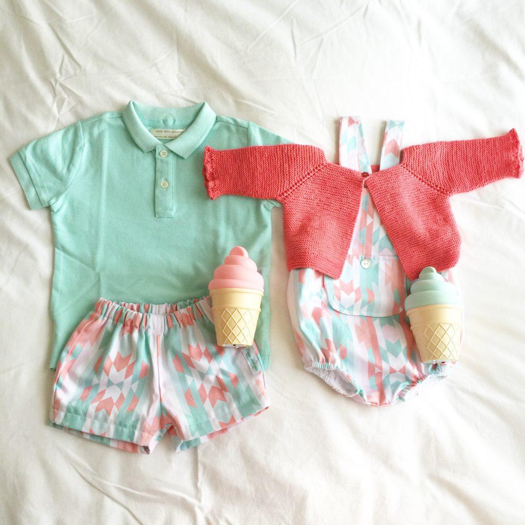 Oui Oui-conjunto mint y rosa-bebes erase una vez-zigzag