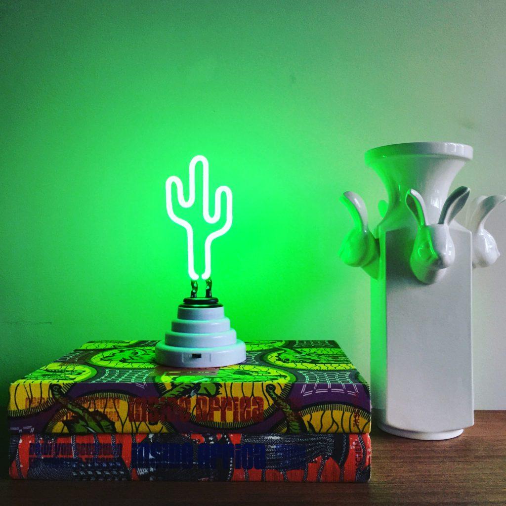 Oui Oui-lampara catus neon-luz verde cactus