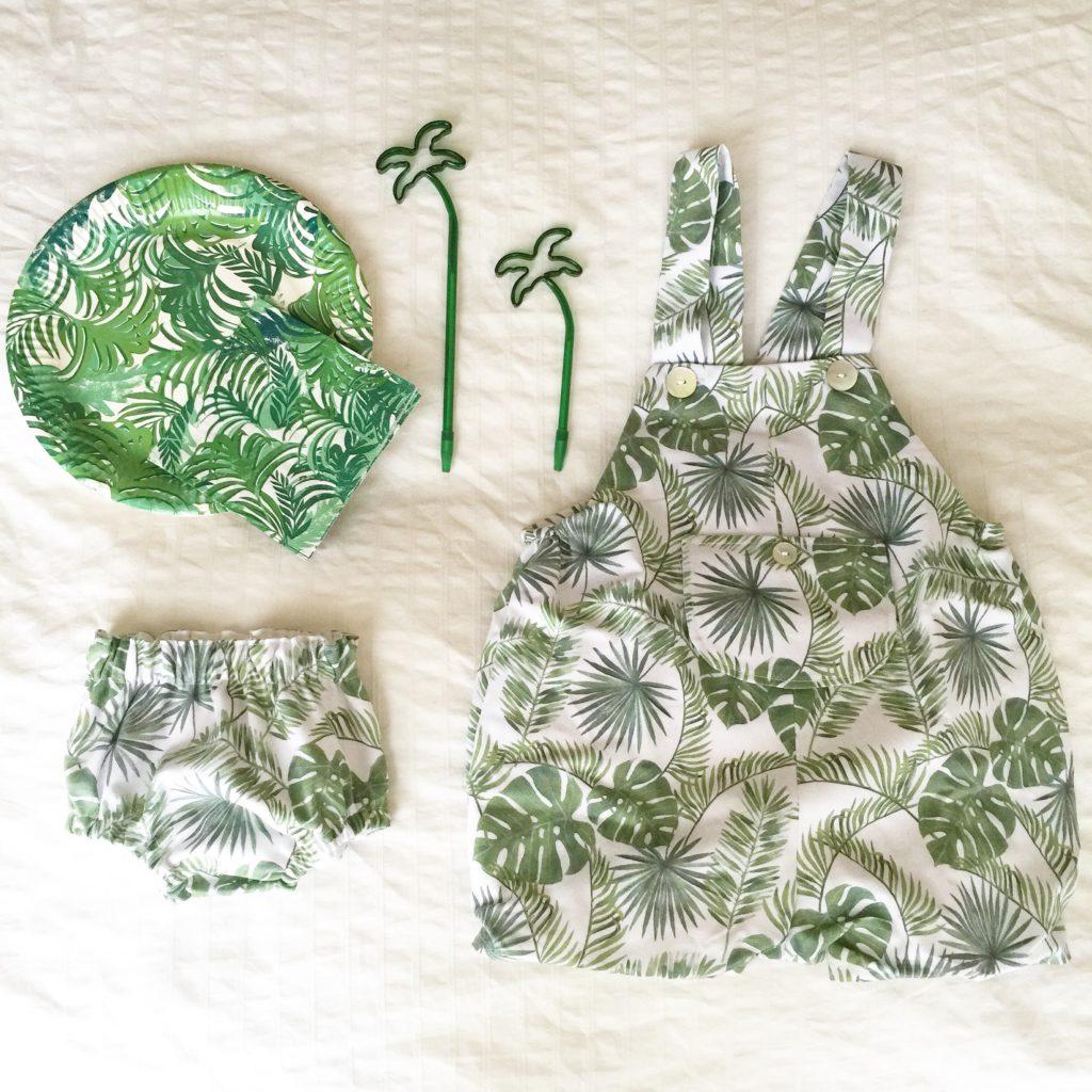 Oui Oui-peto bebe estampado tropical-culotte bebe estampado tropical-platos estampado tropical