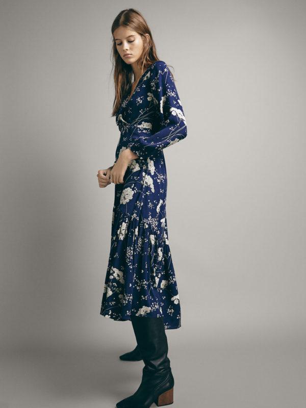 Oui Oui-vestidos invitada otoño- vestido invitada boda flores azules-vestido lunares azul flores-massimo dutti