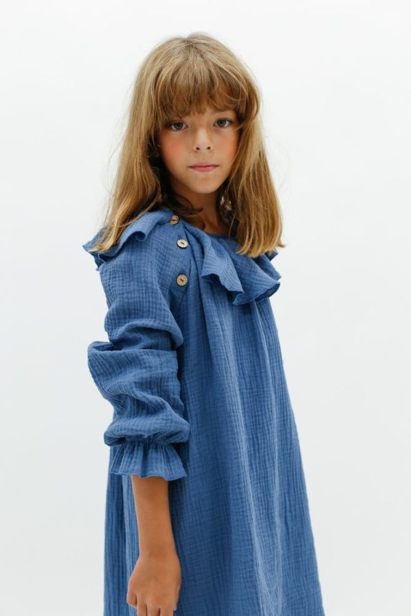 Oui Oui-MINIMUS KIDS-KIDS UP SHOWROOM-Vestido renata con cuello azulón