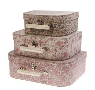 Set 3 maletas florecitas vintage-OUI OUI