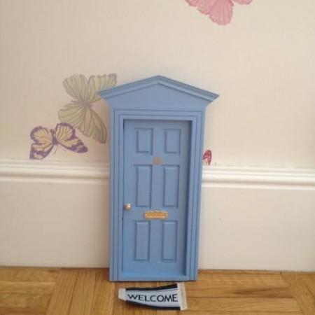 Felpudo puerta ratoncito Pérez azul