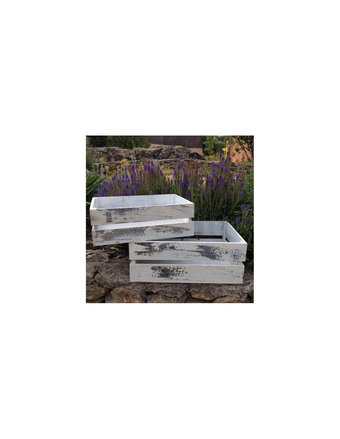 Caja de madera blanca desgastada oui oui for Cajas de madera blancas