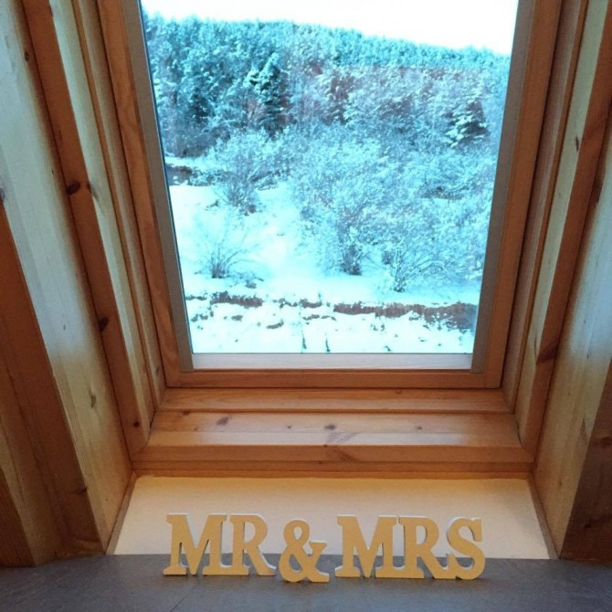 Letras madera blanca Mr & Mrs