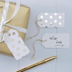 Etiquetas regalo lunares dorados