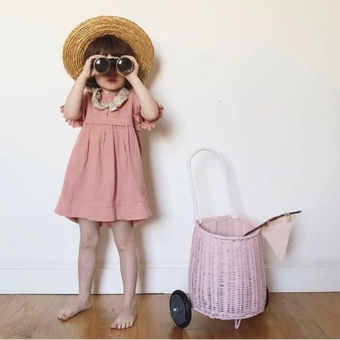 Carrito mimbre niños rosa