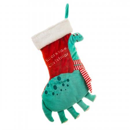 Calcetín regalos chimenea dinosaurio