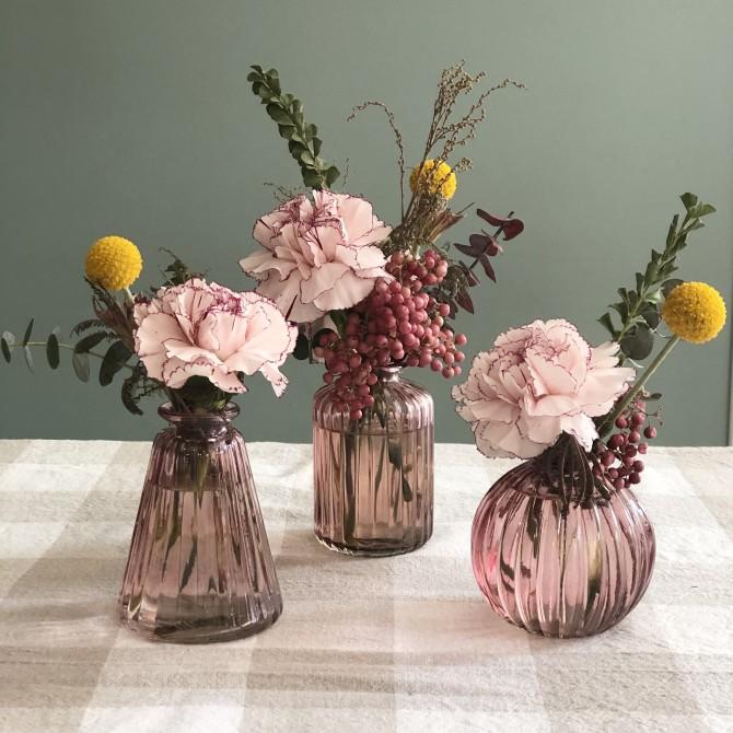 Set 3 jarroncitos cristal rosa