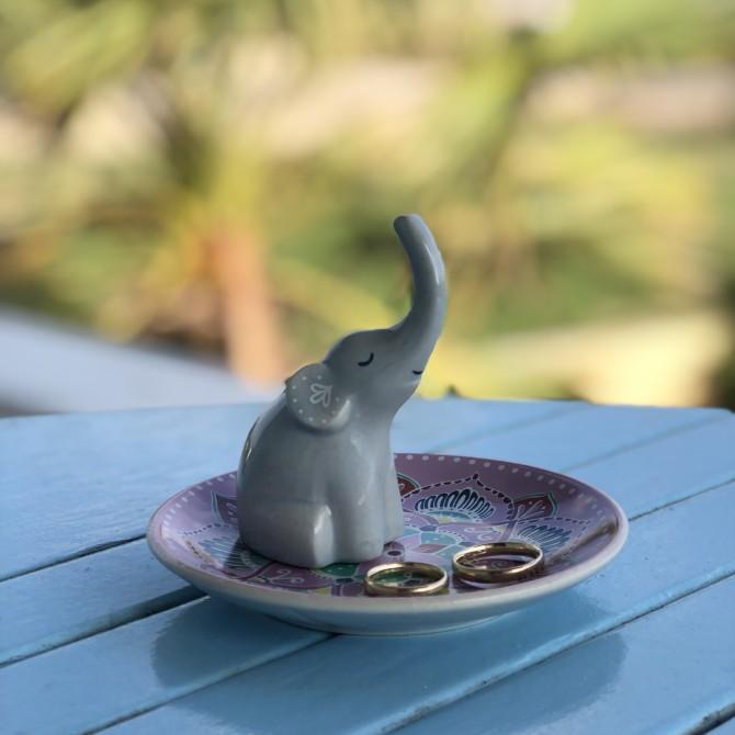 Platito porta anillos elefante mandala