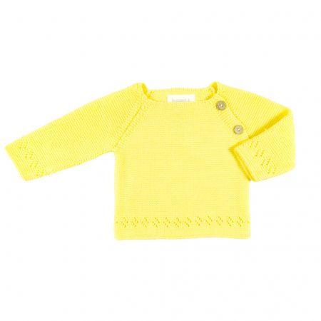 Oui Oui-jersey-bebe-bonnet-a-pompon-punto-amarillo