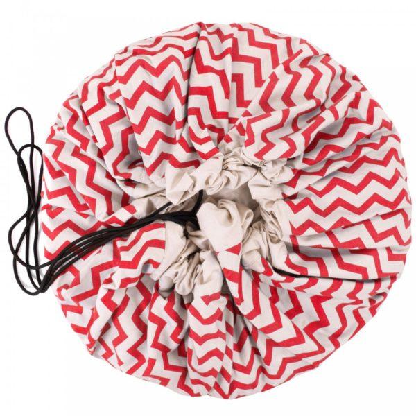 Oui Oui-bolsa-alfombra-de-juego-zig-zag-rojo-saco juguetes cerrado