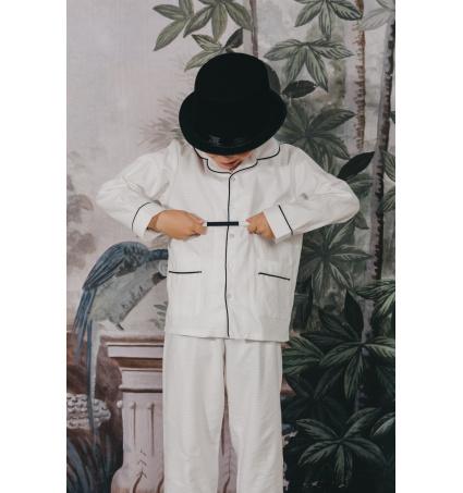 Oui Oui-marvin kids-pijama-nino-clasico-blanco-bolsillos-madeinspain-cotton-algodon