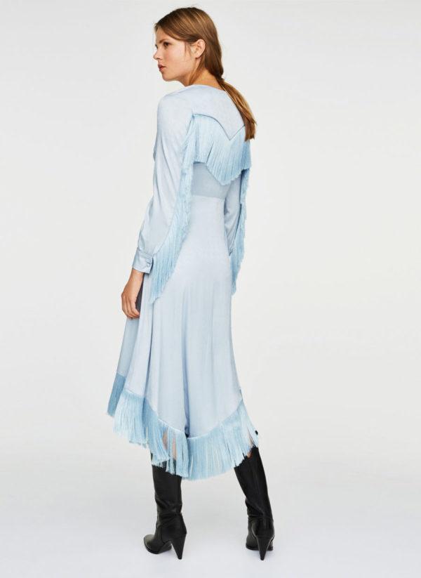 Oui Oui-vestidos invitada otoño- vestido invitada boda flecos-vestiso raso azul flecos-uterqüe